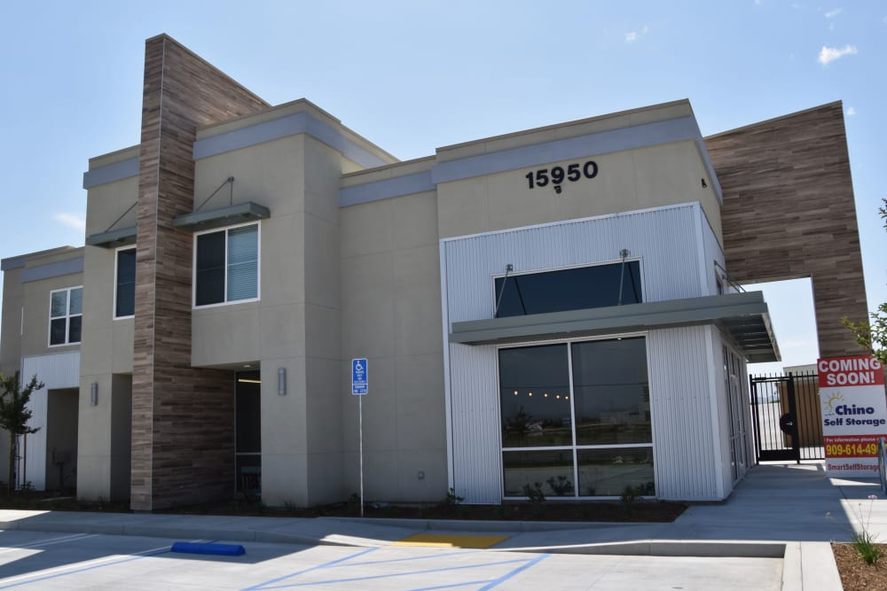 Front of the self storage facility at Chino Self Storage in Chino, CA