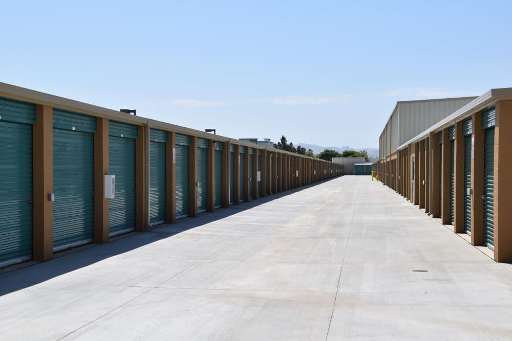 A long row of units at Chino Self Storage in Chino, CA
