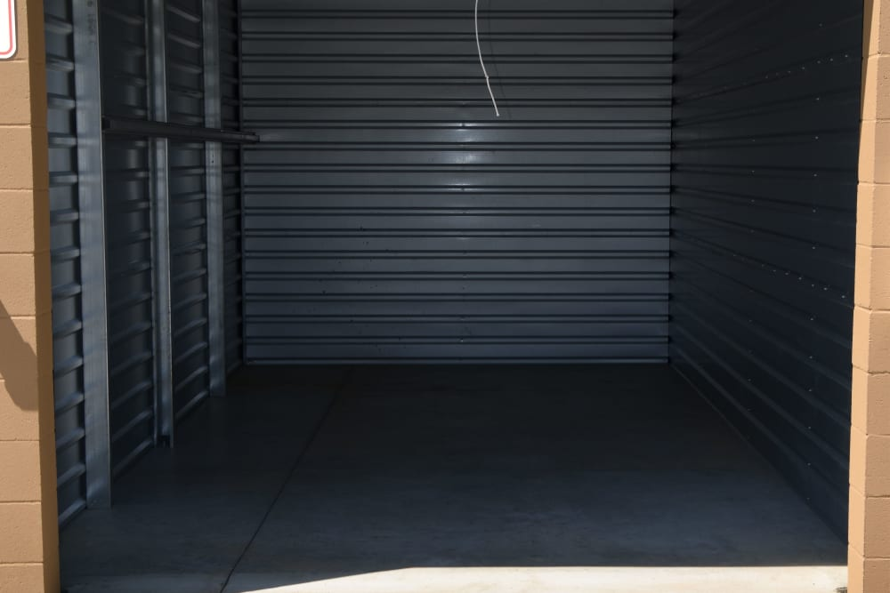 Inside of a unit at Chino Self Storage in Chino, CA