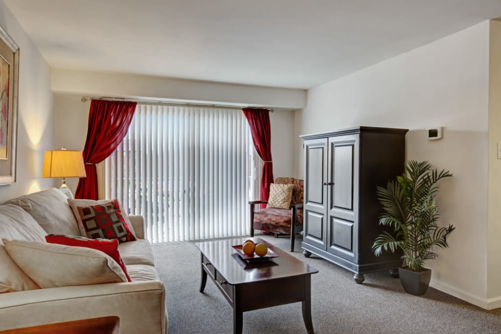 Sliding glass door at Middlebrooke Apartments & Townhomes in Westminster, Maryland