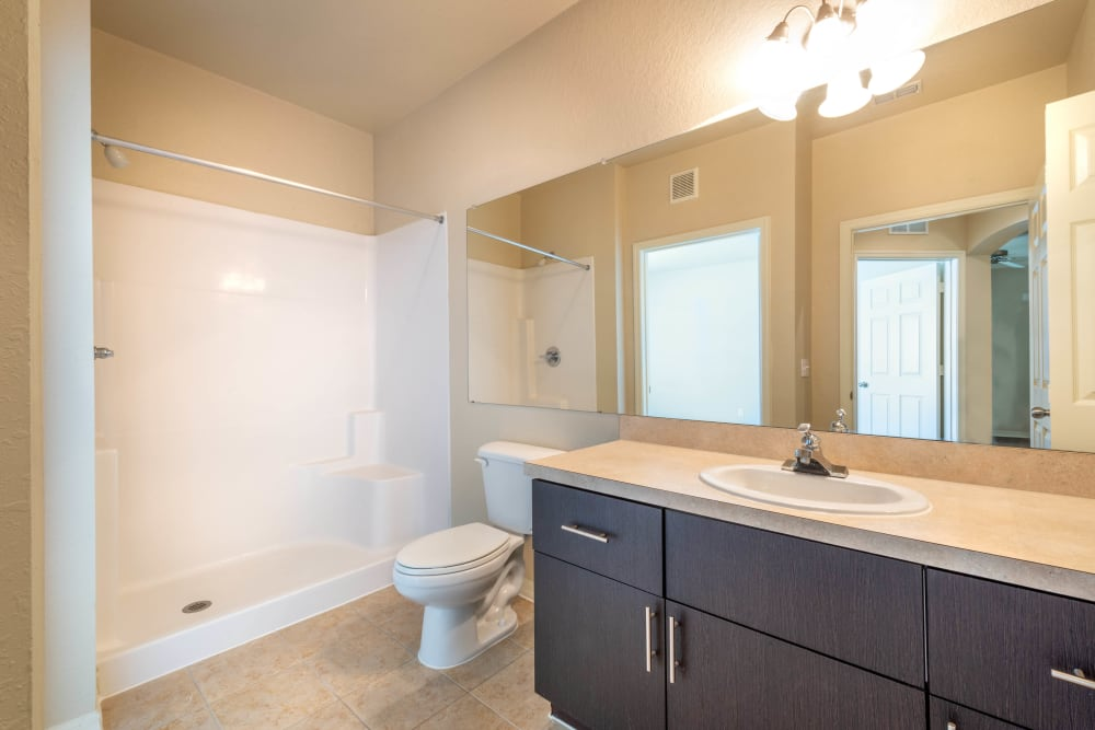 Granite countertop and a tiled shower in a model apartment's bathroom at Mirador & Stovall at River City in Jacksonville, Florida