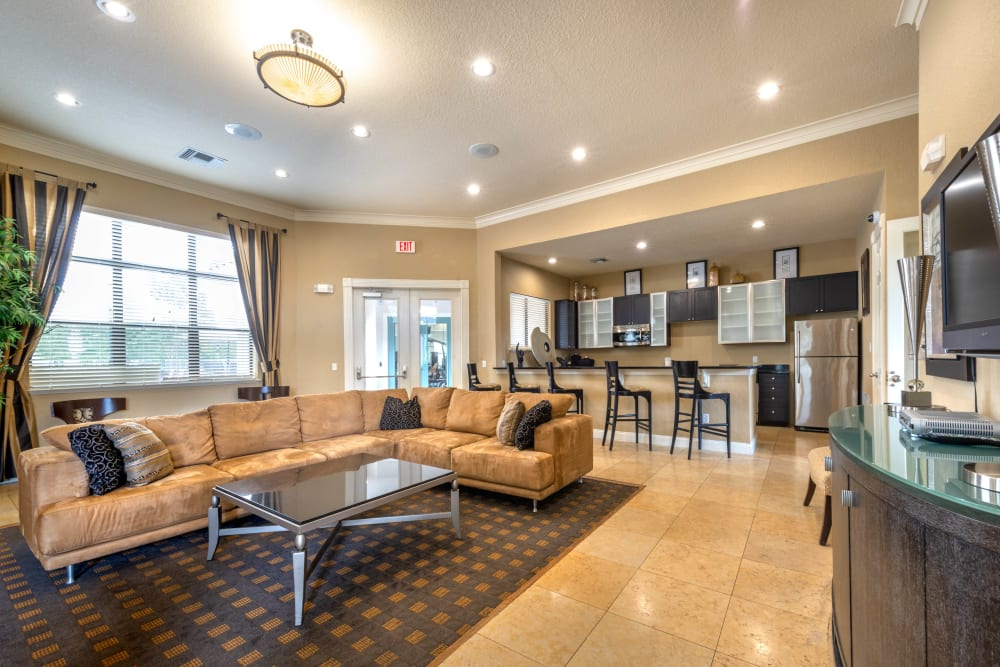 Demonstration kitchen near the clubhouse lounge at Mirador & Stovall at River City in Jacksonville, Florida