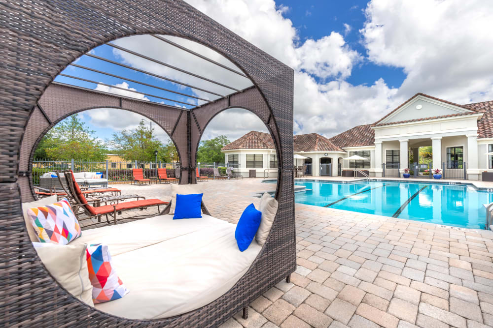 Private cabanas near the pool at Mirador & Stovall at River City in Jacksonville, Florida
