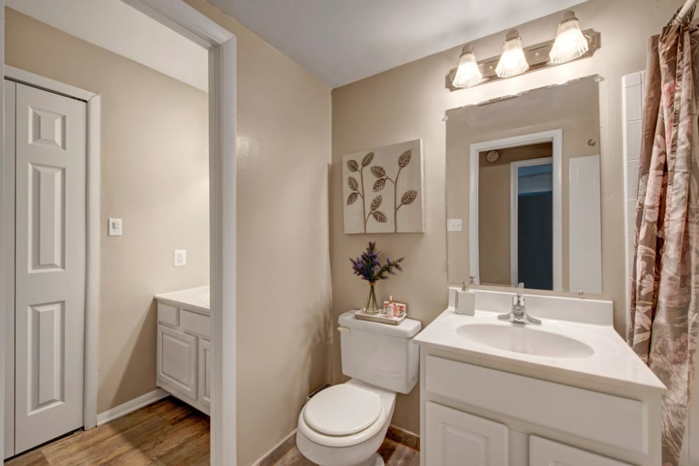 A master bathroom in an apartment at Cinnamon Run at Peppertree Farm in Silver Spring, Maryland