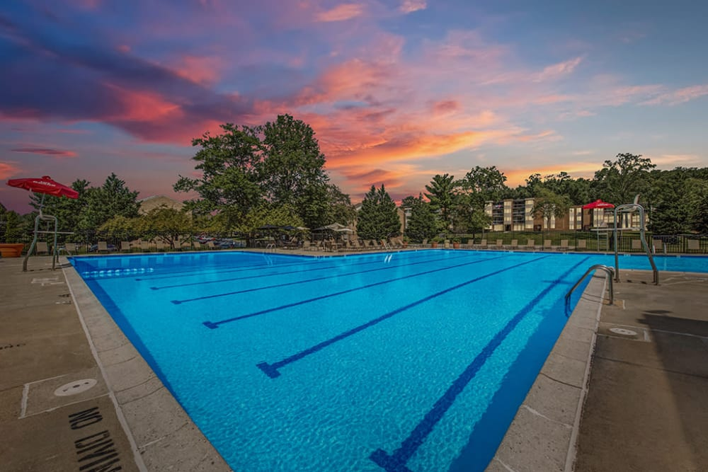 The community pool at dusk at Cinnamon Run at Peppertree Farm in Silver Spring, Maryland