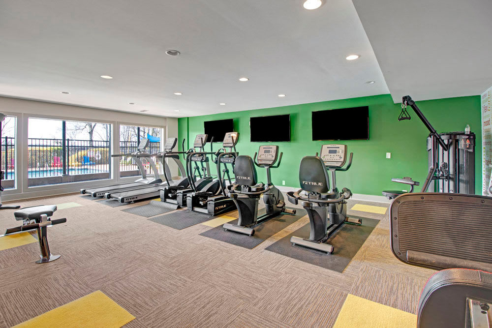 Well equipped fitness center at The Highland on Briley in Nashville, Tennessee