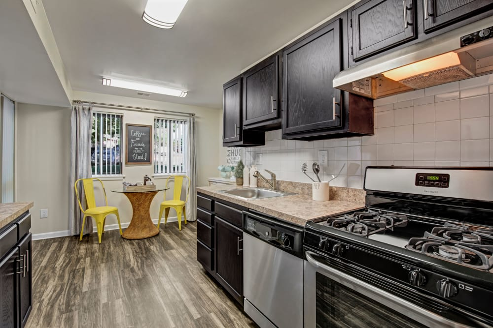 Kitchen with stainless steel appliances at The Gateway in Gaithersburg, Maryland