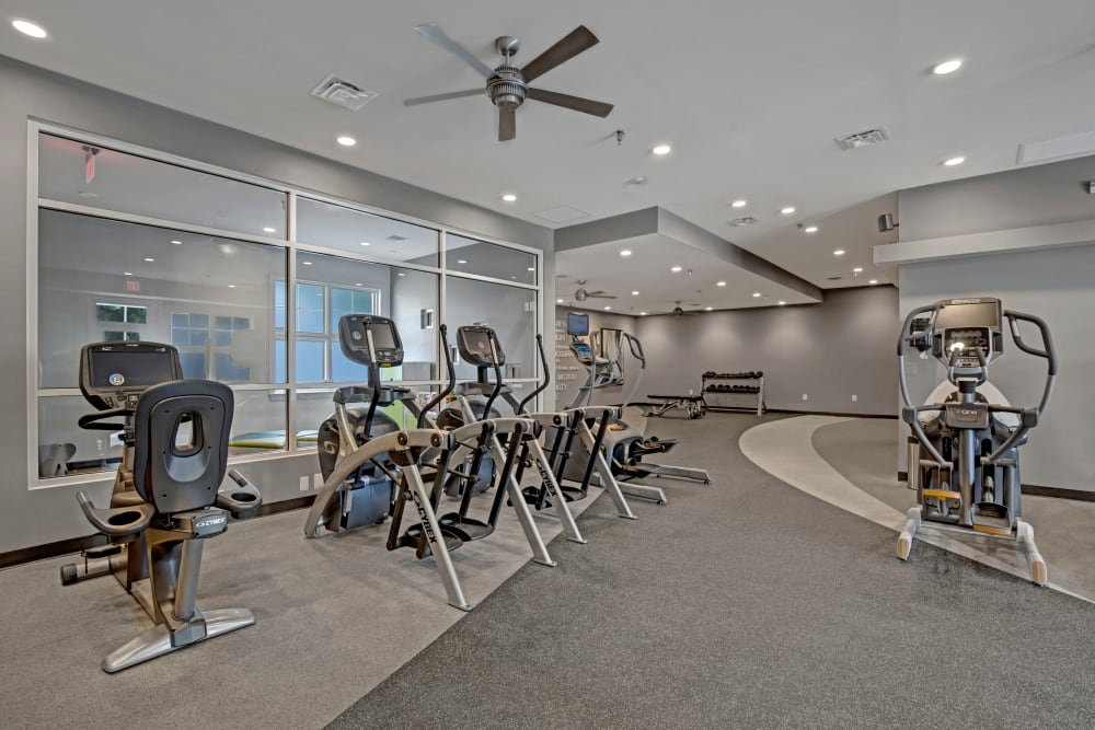 Fully equipped fitness center at The Gateway in Gaithersburg, Maryland