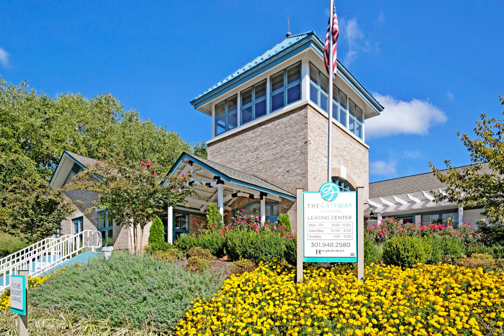 Exterior of The Gateway's leasing office in Gaithersburg, Maryland