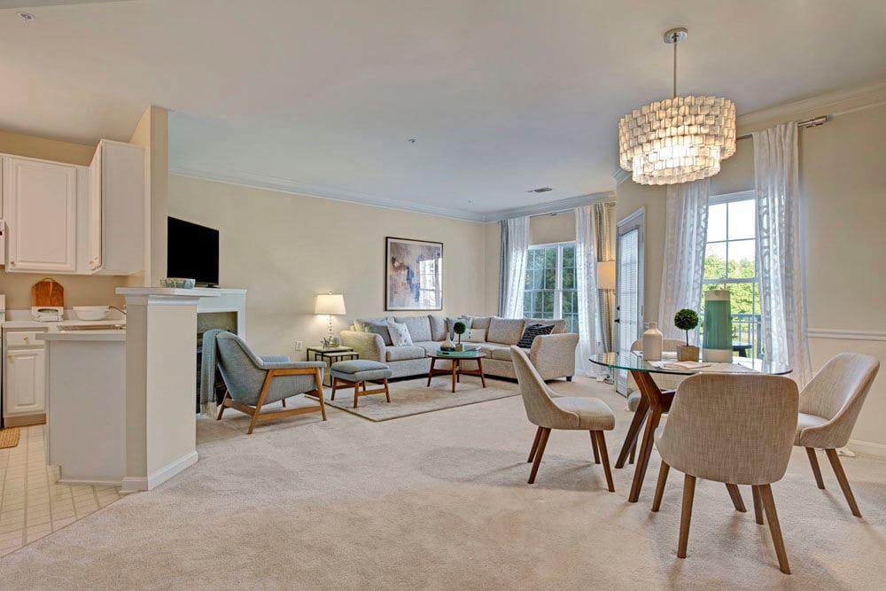 Spacious living area at Dulles Greene in Herndon, Virginia