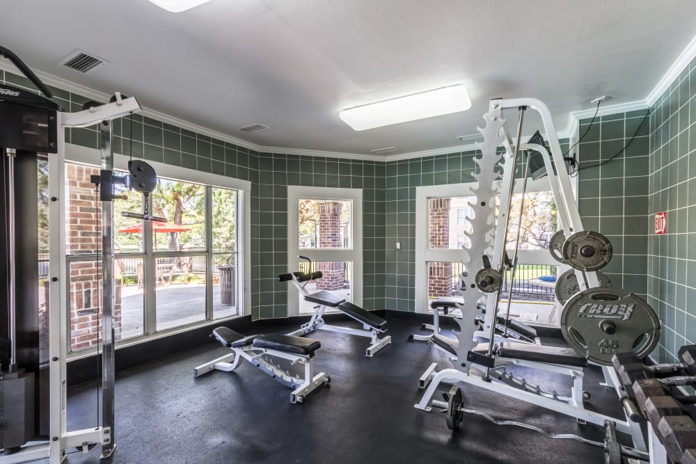 Fully equipped fitness center at Britton Woods in Dublin, Ohio