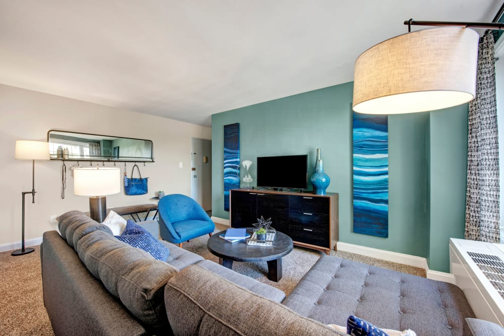 A furnished apartment living room at Braddock Lee Apartments in Alexandria, Virginia