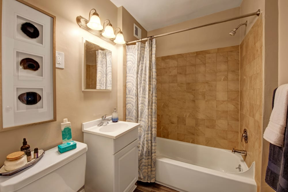 A decorated model apartment bathroom at Braddock Lee Apartments in Alexandria, Virginia