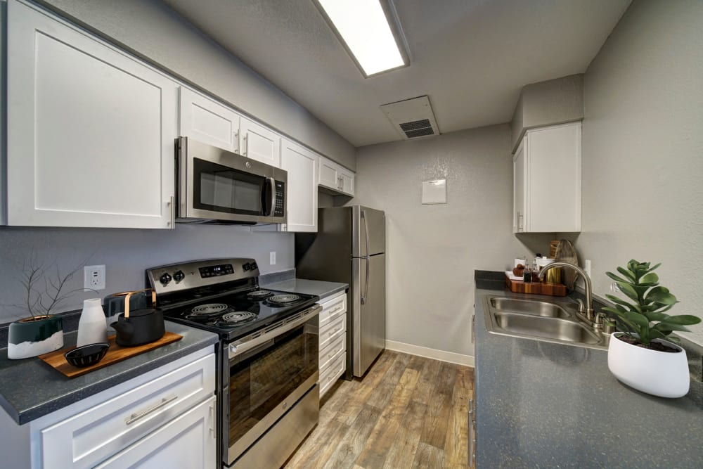 White cabinetry kitchen renovation with stainless steel appliances