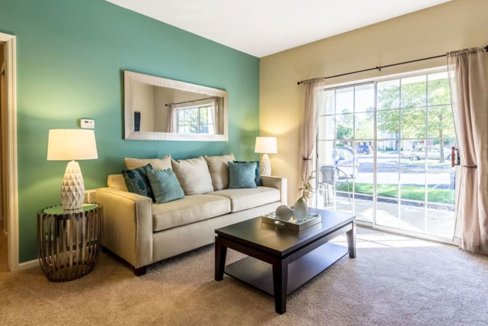 Bright living room at Heritage Green in Hilliard, Ohio