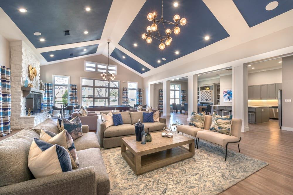 Luxurious resident clubhouse interior at Olympus Town Center in Keller, Texas
