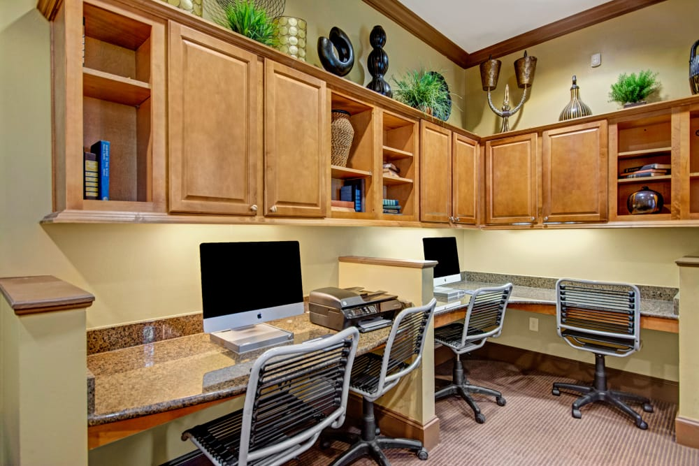 Business center at Vista 121 Apartment Homes in Lewisville, Texas
