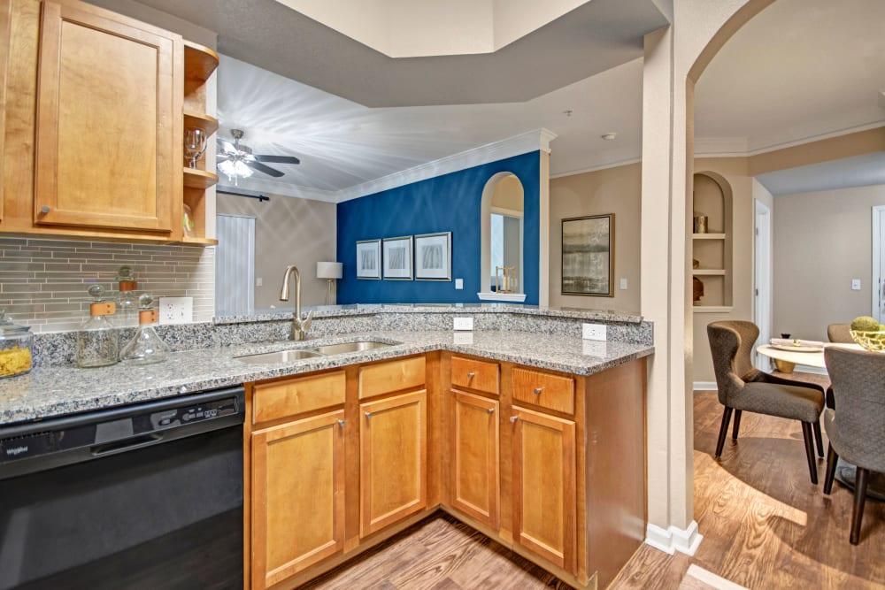 Bright kitchen at Vista 121 Apartment Homes in Lewisville, Texas