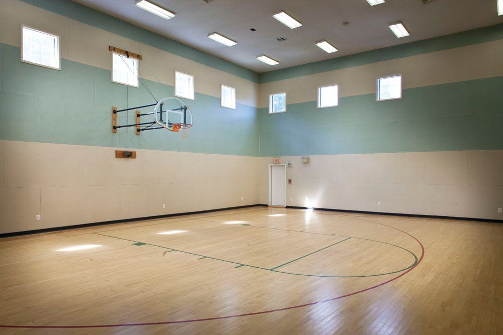 An indoor basketball court at The Commons At Haynes Farm in Shrewsbury, Massachusetts