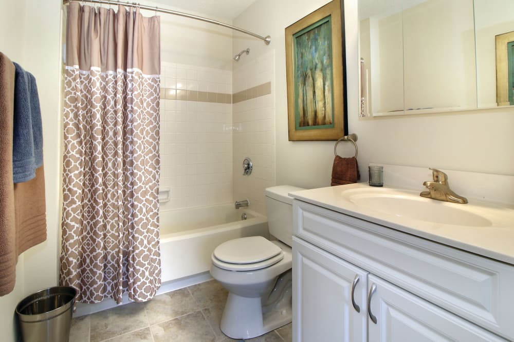 A decorated apartment bathroom at The Commons At Haynes Farm in Shrewsbury, Massachusetts