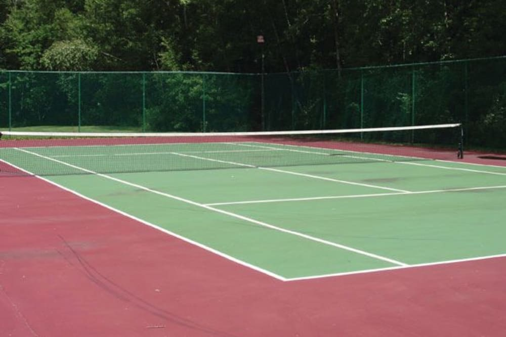 An onsite tennis court at The Commons At Haynes Farm in Shrewsbury, Massachusetts