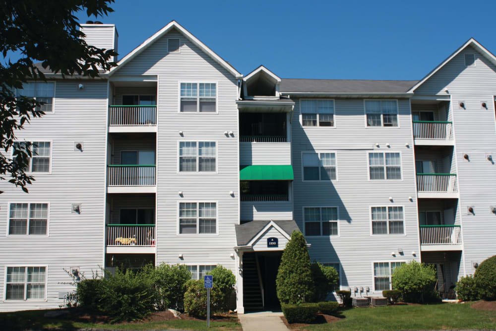 Exterior of an apartment building at The Commons At Haynes Farm in Shrewsbury, Massachusetts