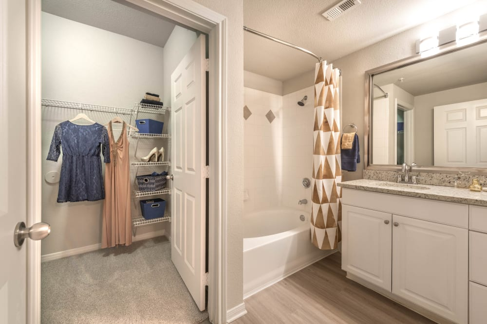 Walk-in closet in a model home's bathroom at Olympus Town Center in Keller, Texas