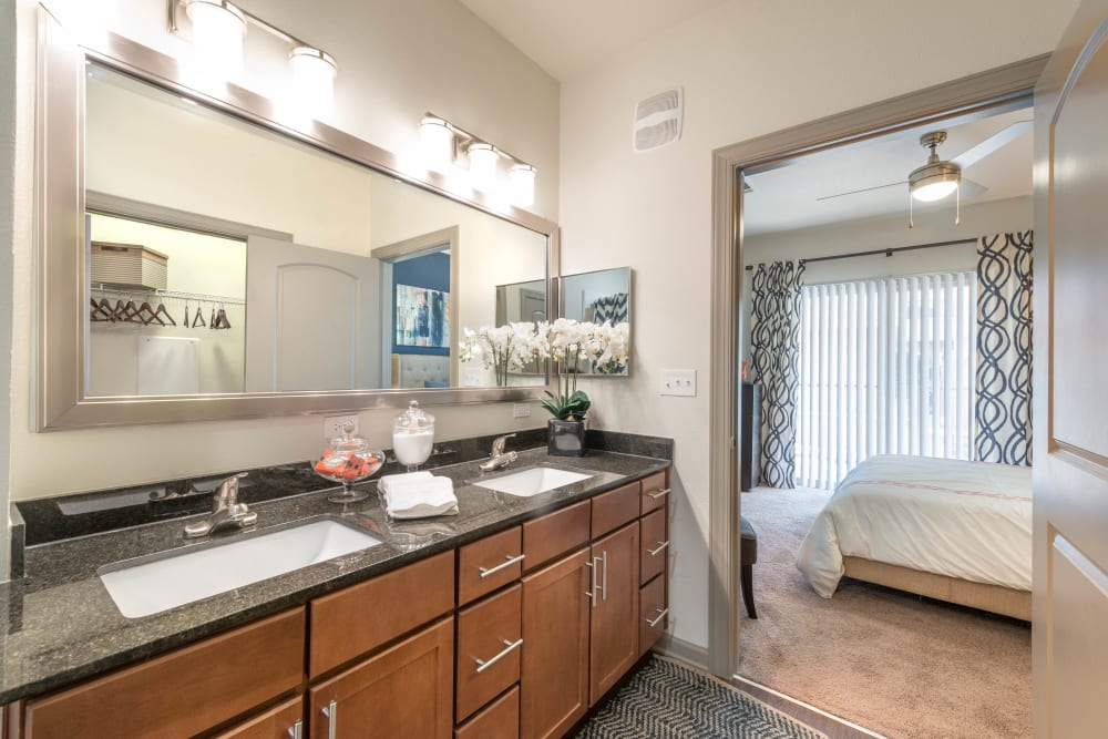 Dual sinks and a granite countertop in a model home's master bathroom at Olympus Waterford in Keller, Texas