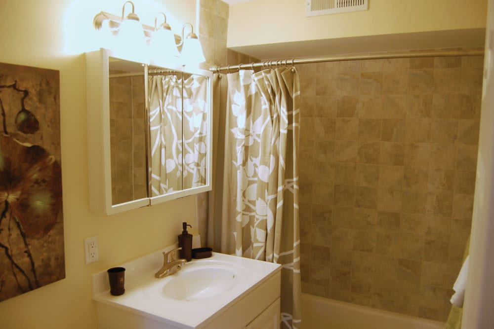 An apartment bathroom at The Heights At Marlborough in Marlborough, Massachusetts