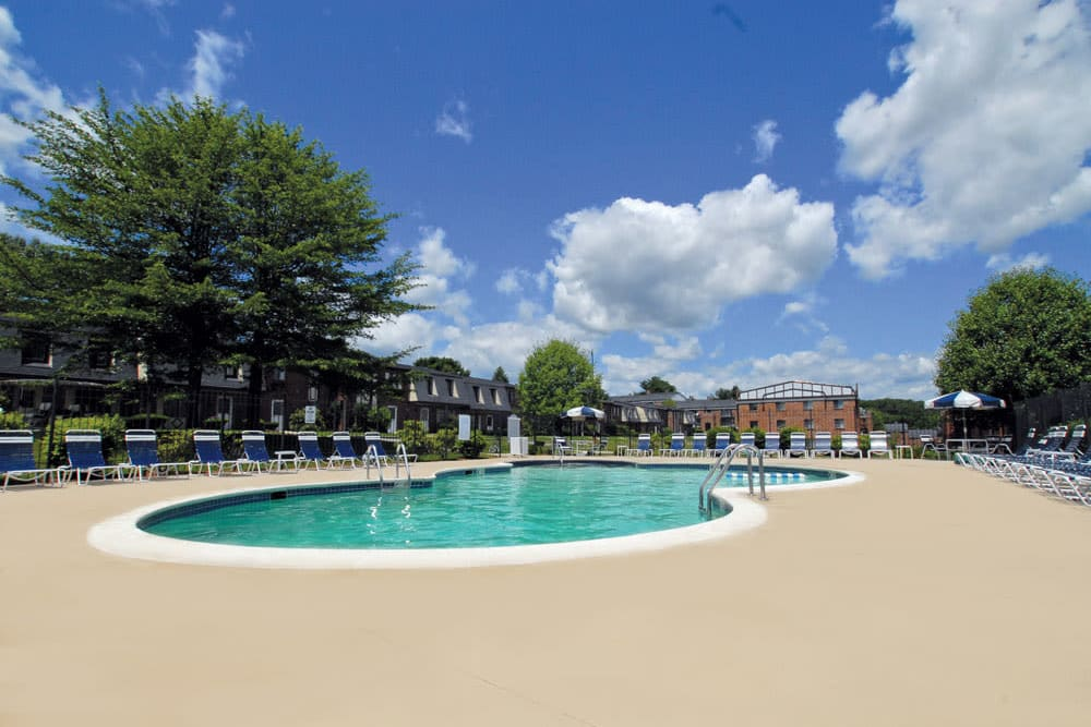 The pool at The Heights At Marlborough in Marlborough, Massachusetts