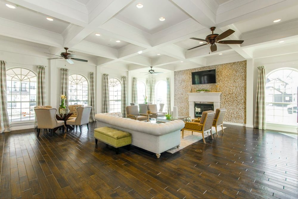 Luxurious clubhouse interior at Olympus Woodbridge in Sachse, Texas