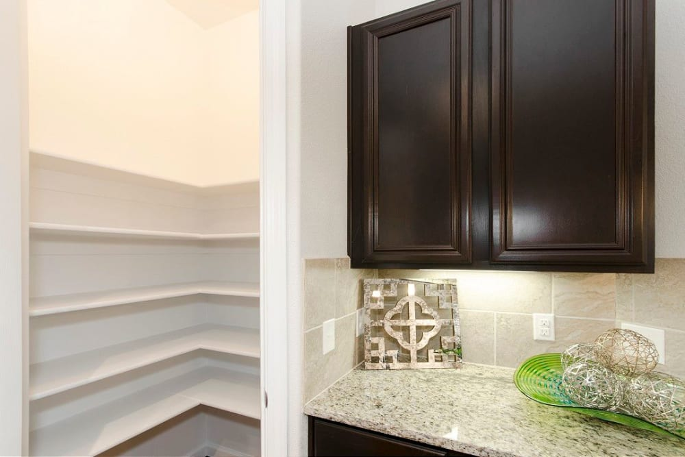Built-in shelving and extra cabinet storage in a model townhome at Olympus Woodbridge in Sachse, Texas