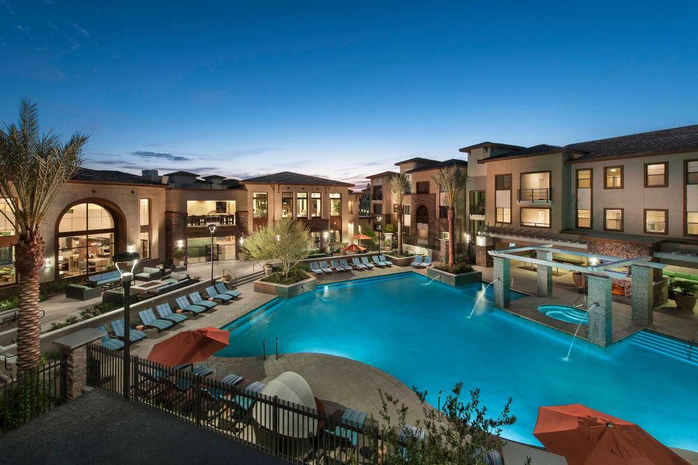 Twilight at the swimming pool area at Redstone at SanTan Village in Gilbert, Arizona