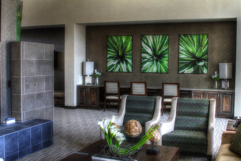 Luxuriously furnished clubhouse lounge at Redstone at SanTan Village in Gilbert, Arizona