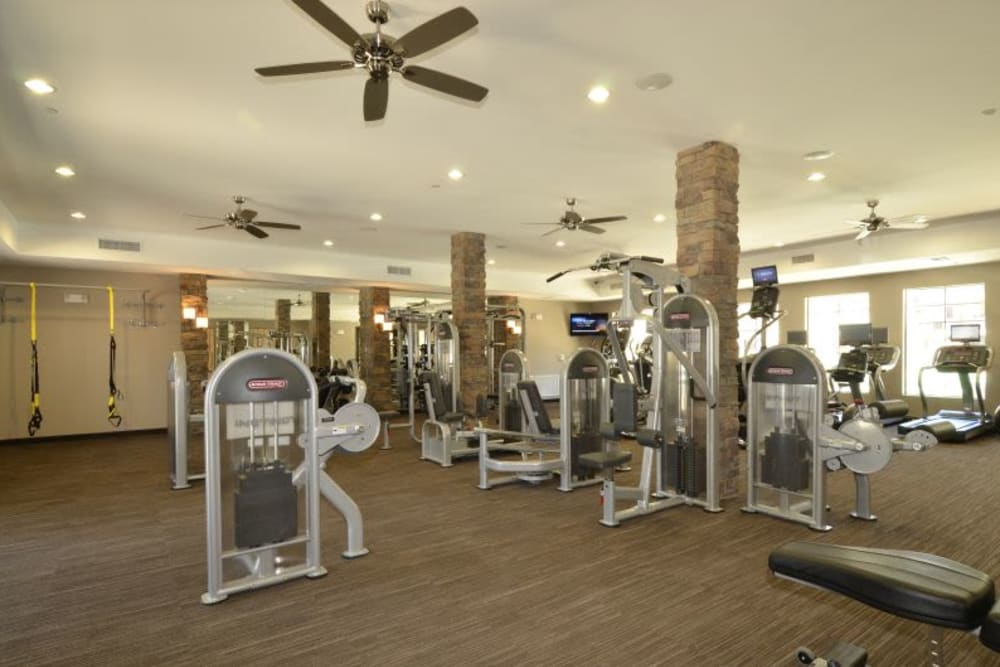 Well-equipped fitness center at Redstone at SanTan Village in Gilbert, Arizona