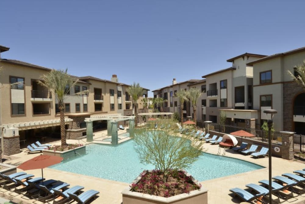 Beautiful day at the resort-style swimming pool at Redstone at SanTan Village in Gilbert, Arizona