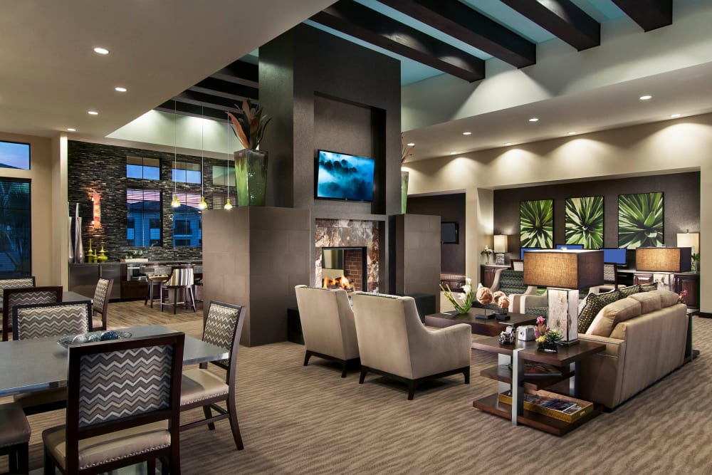 Luxurious resident clubhouse lounge at Redstone at SanTan Village in Gilbert, Arizona