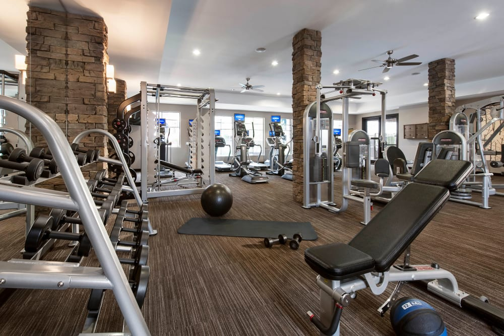 Well-equipped onsite fitness center at Redstone at SanTan Village in Gilbert, Arizona