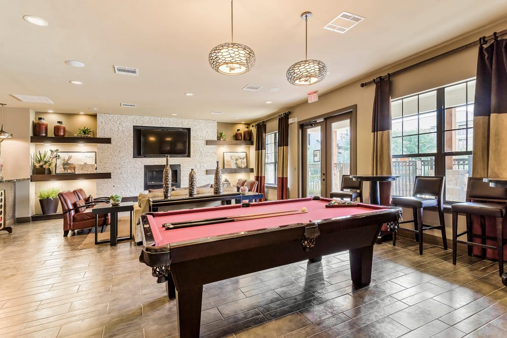 Billiards table in the game room at Sedona Ranch in Odessa, Texas