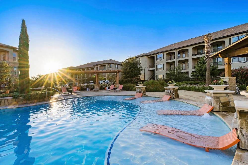 Beautiful morning at the swimming pool at Sedona Ranch in Odessa, Texas