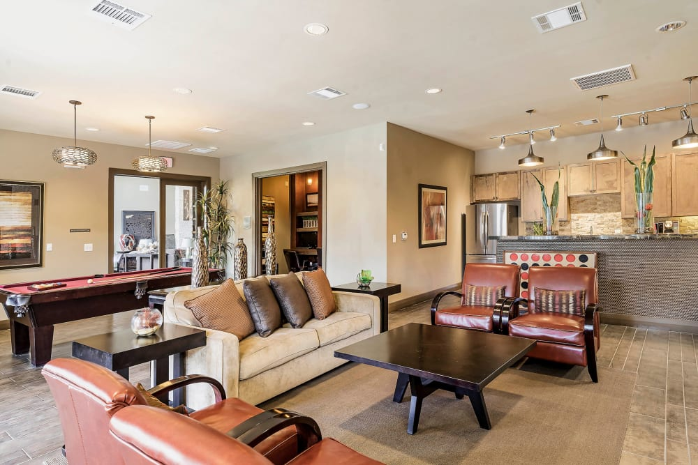 Lounge area in the game room at Sedona Ranch in Odessa, Texas