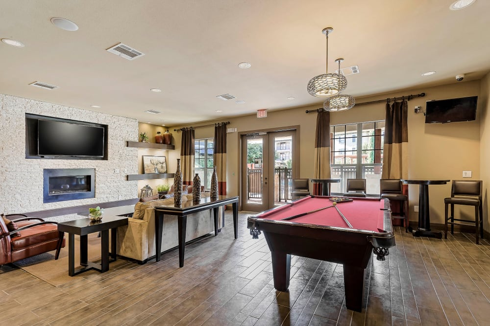 Billiards and more in the clubhouse game room at Sedona Ranch in Odessa, Texas