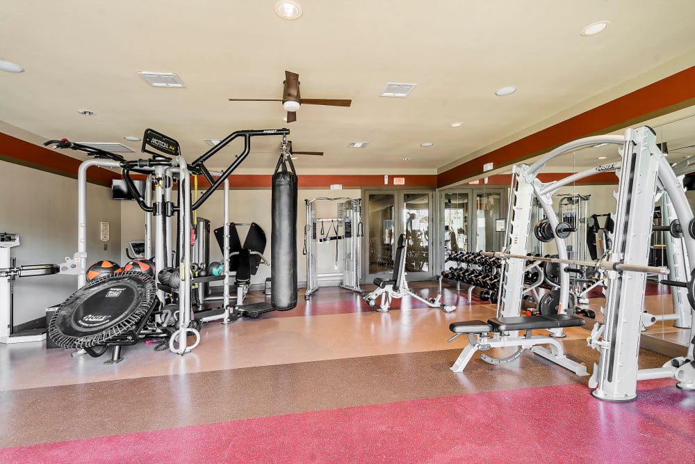 Well-equipped onsite fitness center at Sedona Ranch in Odessa, Texas