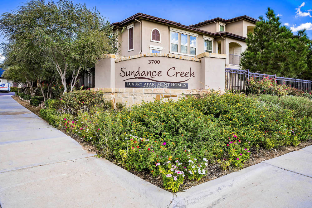 Our monument sign welcoming residents and their guests to Sundance Creek in Midland, Texas