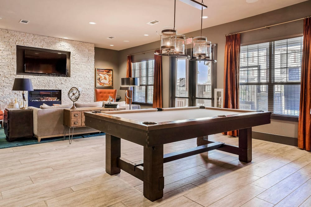 Billiards table in the game room at Sundance Creek in Midland, Texas