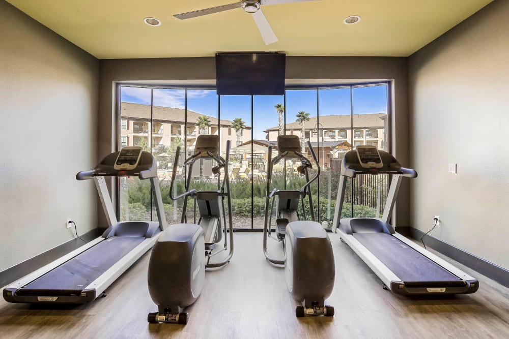 Treadmills in the fitness center at Sundance Creek in Midland, Texas