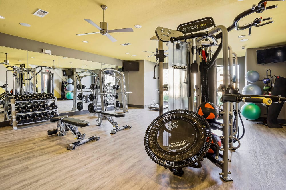 Free weights and more in the onsite fitness center at Sundance Creek in Midland, Texas