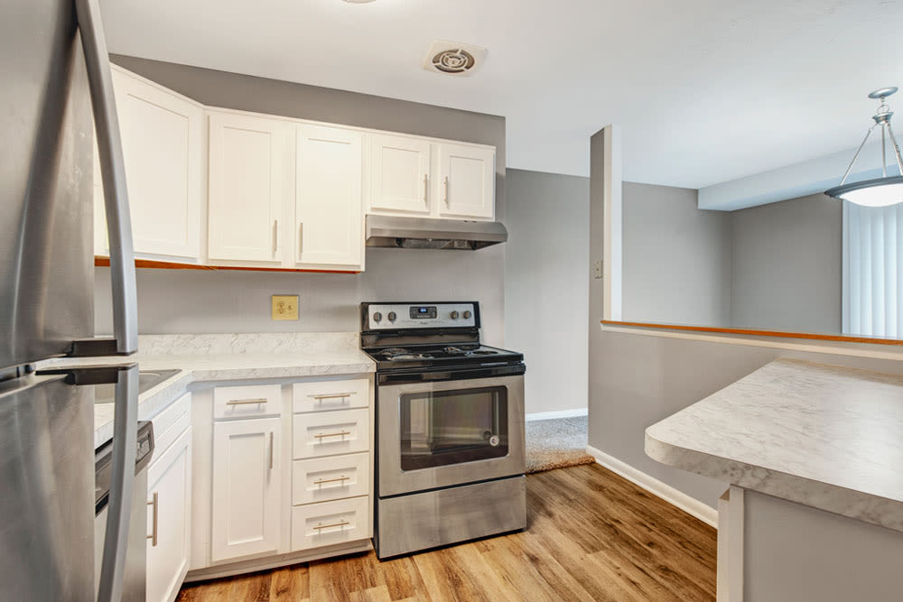Fully equipped kitchen at Country Village Apartments in Bel Air, Maryland