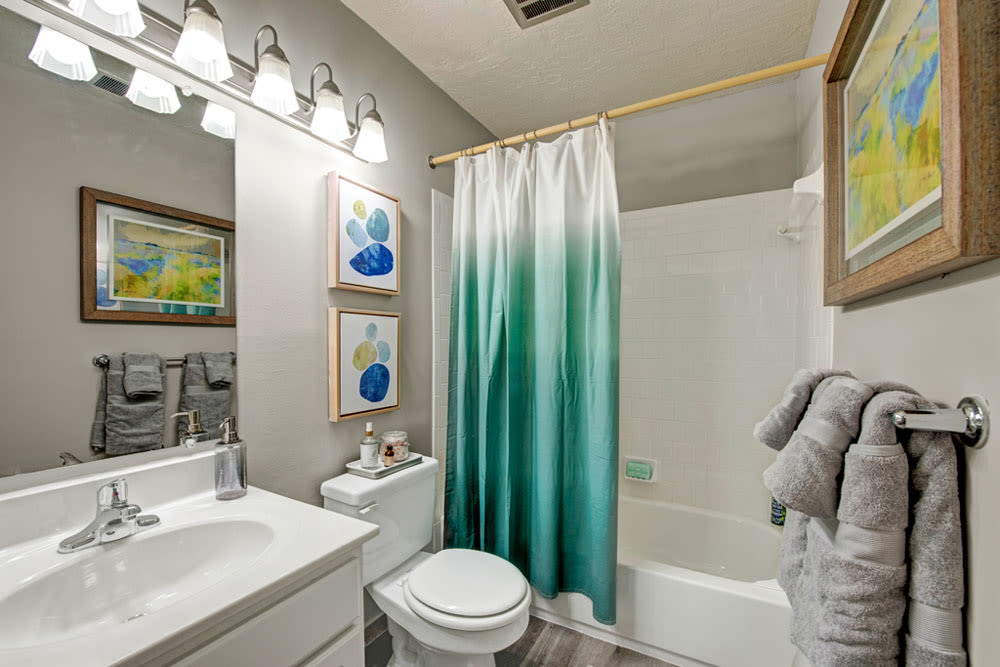 Bright bathroom at Country Village Apartments in Bel Air, Maryland