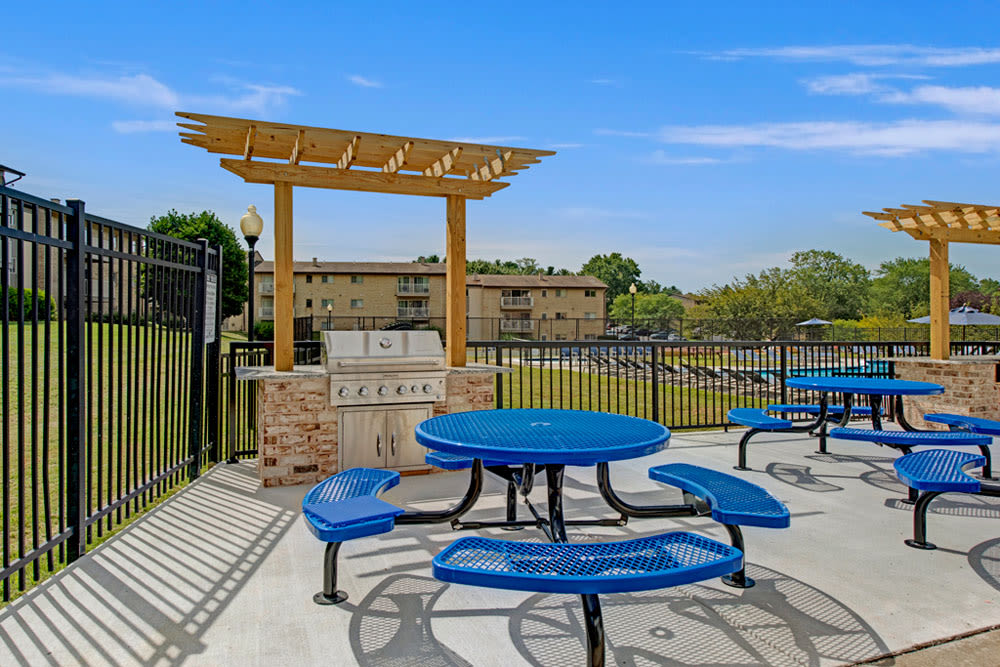 Outdoor patio area at Country Village Apartments in Bel Air, Maryland